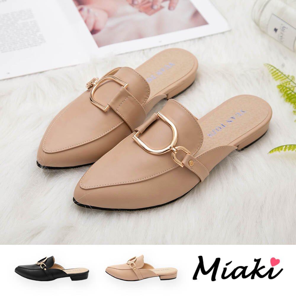 【Miaki】穆勒鞋-韓版時尚尖頭平底鞋 (現貨+預購)