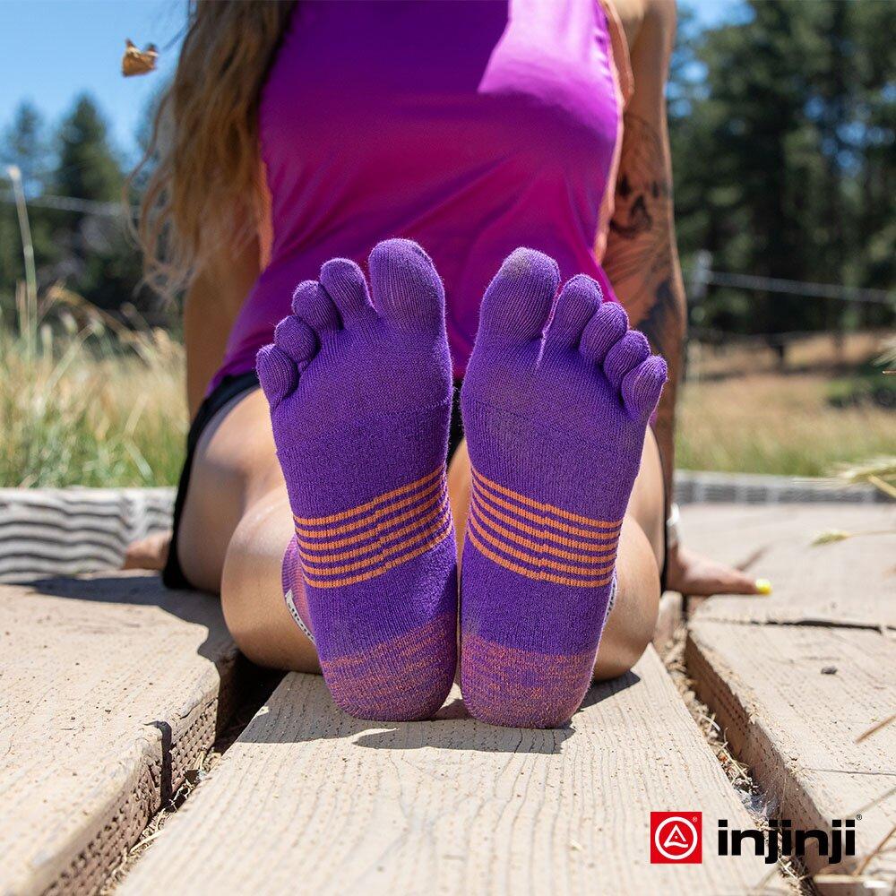 【INJINJI】TRAIL女野跑避震吸排五趾短襪(紫色)避震 五趾襪 五指襪 運動襪INJB0NAA3874