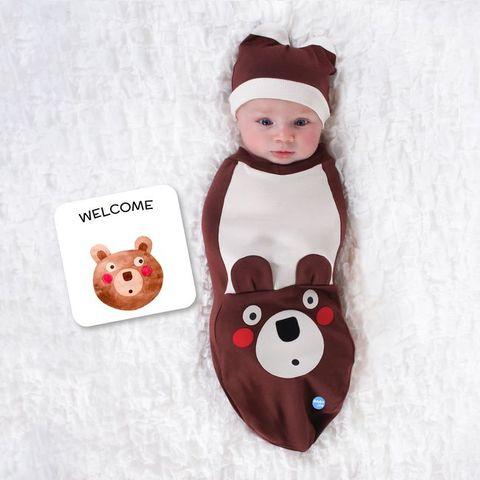 BABYjoe 美國製純棉手工包巾套組-愣愣噠棕熊寶寶