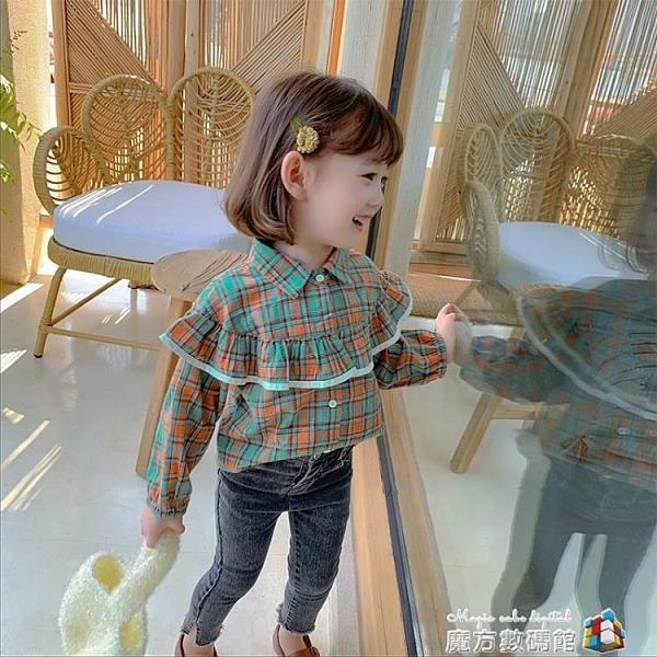 女童格子襯衫秋裝新款韓版洋氣兒童秋款小童襯衣寶寶時髦長袖上衣 聖誕節全館免運