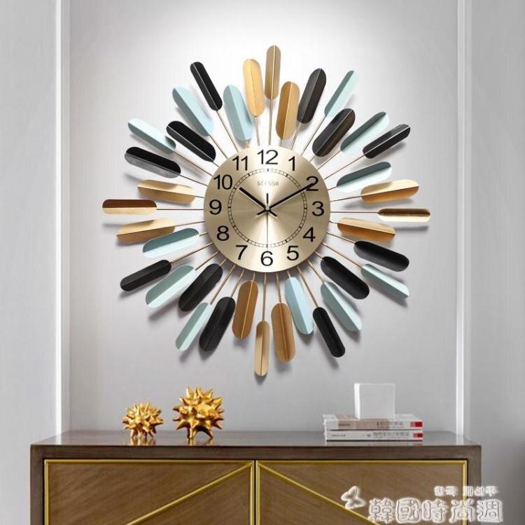 鐘錶掛鐘客廳現代簡約家用藝術電子時鐘墻面裝飾創意美式輕奢掛錶-韓尚華蓮