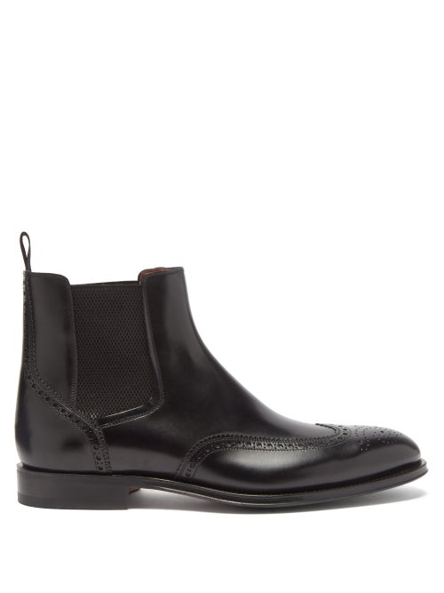 Santoni - Phoenix Leather Brogue Chelsea Boots - Mens - Black
