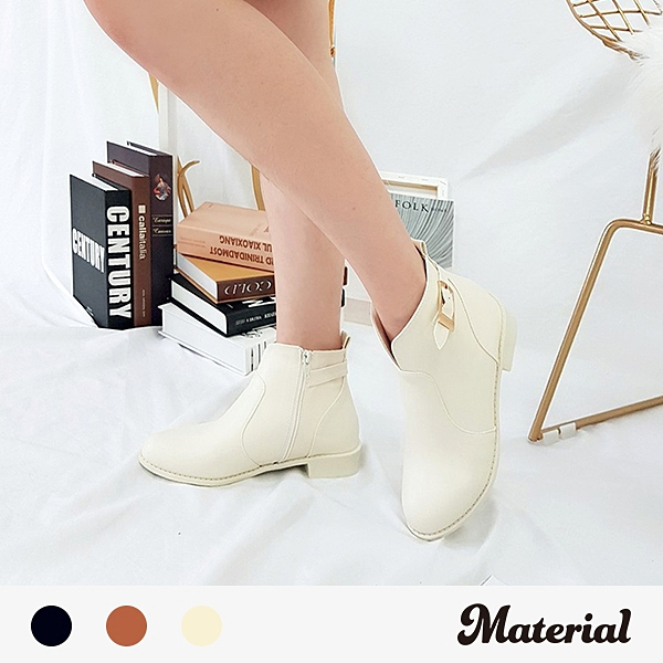 短靴 前開口後扣平底短靴 MA女鞋 T8018