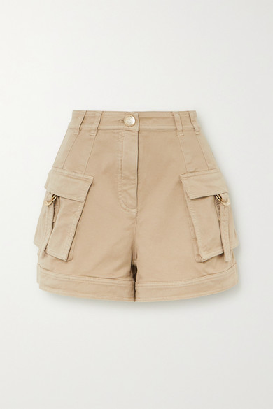 Balmain - 棉质混纺卡其布短裤 - 浅褐色 - FR36