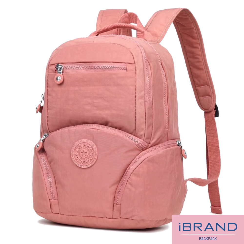 【iBrand】輕盈防潑水素色雙層多功能尼龍後背包-(多色) MDS-8621S