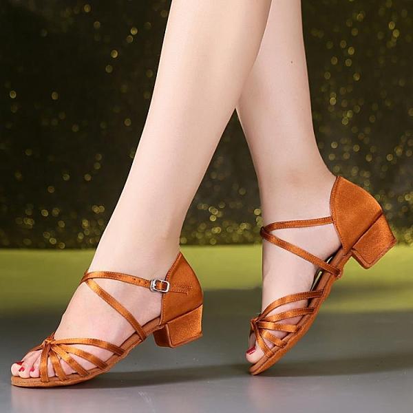 兒童專業拉丁舞鞋女孩女童軟底中跟跳舞鞋舞蹈鞋涼鞋初學者恰恰白 後街五號