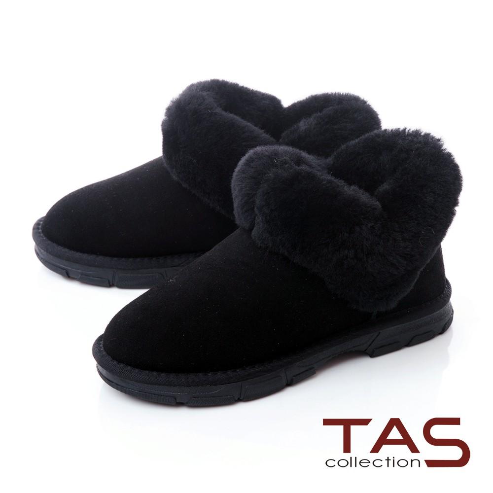 TAS愛心造型絨毛布靴-人氣黑