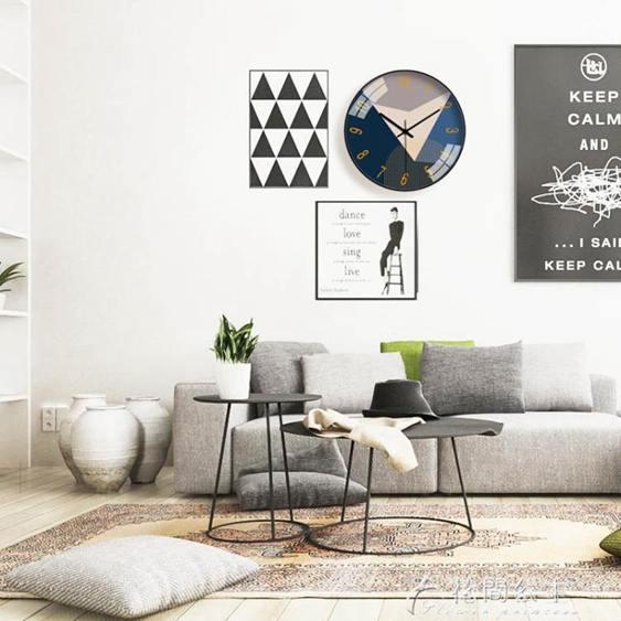 鐘表掛鐘客廳現代插色簡約大氣家用石英鐘創意靜音圓形時鐘掛表