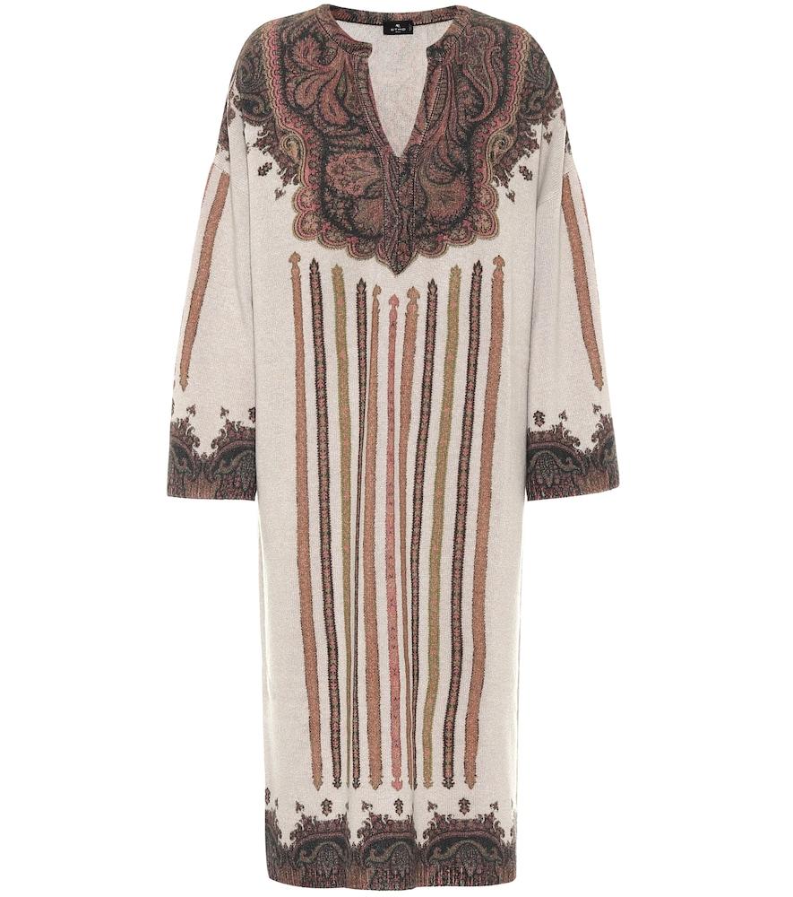 Paisley wool-blend midi dress
