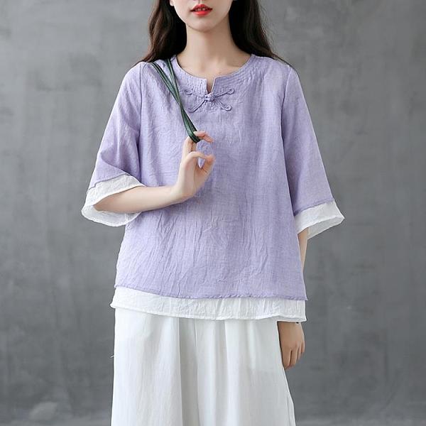 dza文藝盤扣假兩件棉麻T恤女士短袖體恤夏裝寬鬆亞麻上衣-Milano米蘭