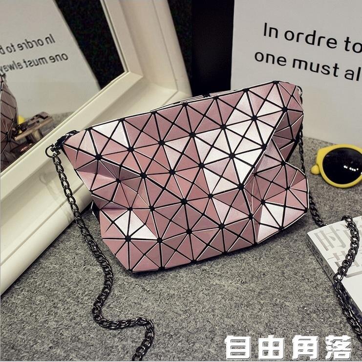 2020新款韓版百搭斜挎鐳射包菱形折疊包幾何菱格小包?條包單肩包