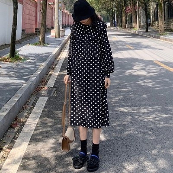 洋裝裙子中大尺碼XL-5XL秋裝新款大碼連身裙長裙遮肉200斤R032-3603.愛尚布衣