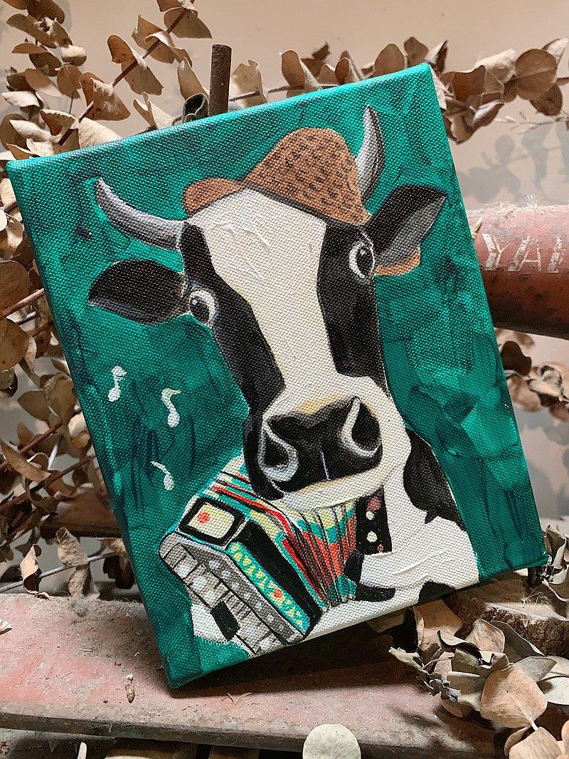 小畫框原畫 /  彈奏祝福的旋律給你。乳牛先生 - 動物的日常系列