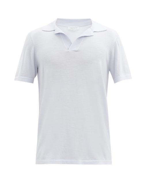 Gabriela Hearst - Jinete Open-collar Wool Polo Shirt - Mens - Light Blue