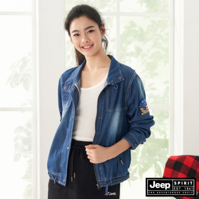 Jeep 女裝 輕薄立領短版防風外套-牛仔藍