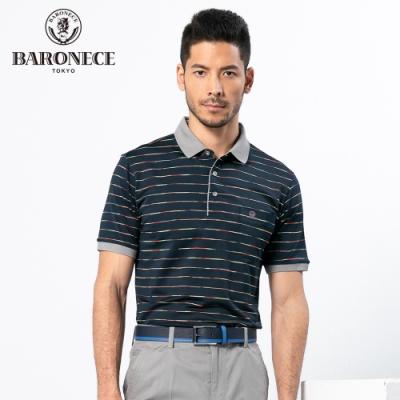 BARONECE 百諾禮士休閒商務  男裝  吸濕排汗條紋短袖POLO衫上衣-深藍色(1188298-39)