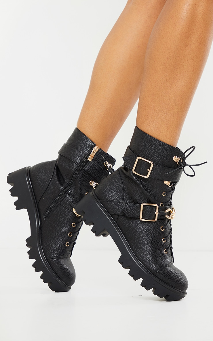 Black Buckle Chain Trim Lace Up Hiker Boot