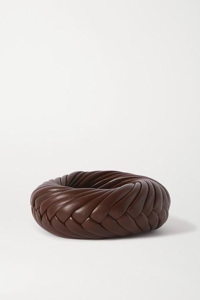 Bottega Veneta - 编织皮革手镯 - 棕色 - M