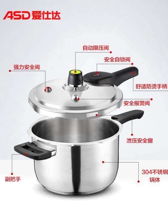 愛仕達高壓鍋家用燃氣電磁爐通用304不銹鋼壓力鍋小型迷你1-2-3人