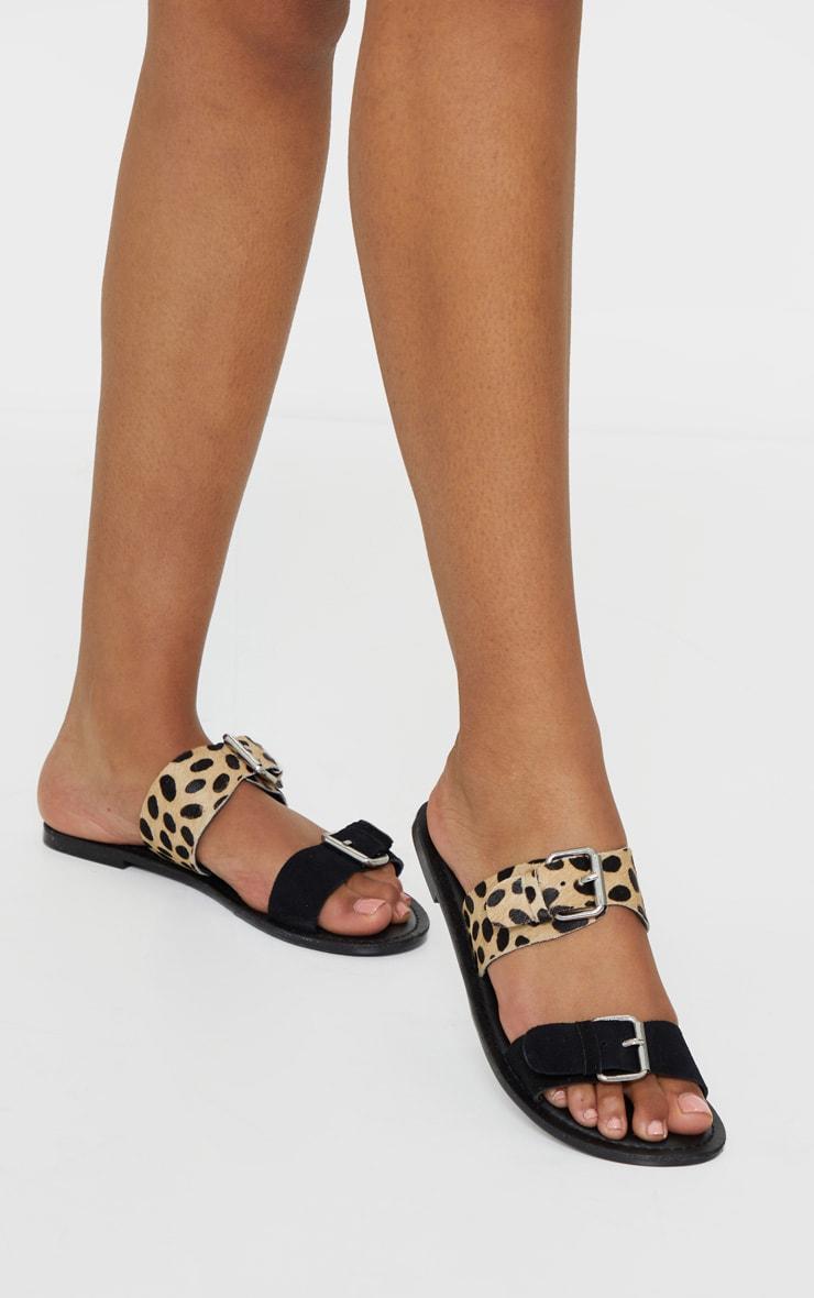 Black Twin Strap Buckle Trim Leather Mule Sandals