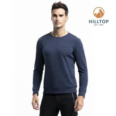 【hilltop山頂鳥】男款混羊毛保暖抗菌長袖薄上衣PH51XMI8ECE0深藍