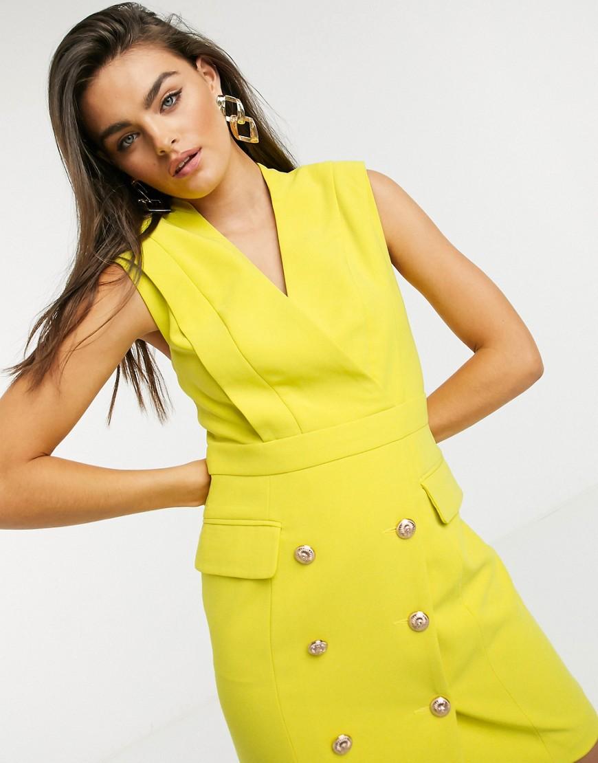 Forever Unique sleeveless blazer dress in lime-Green
