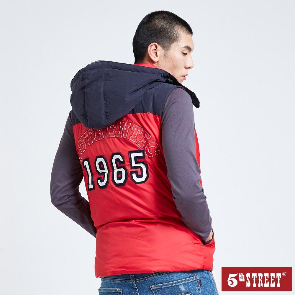 【5th STREET】男1965羽絨連帽背心-紅色