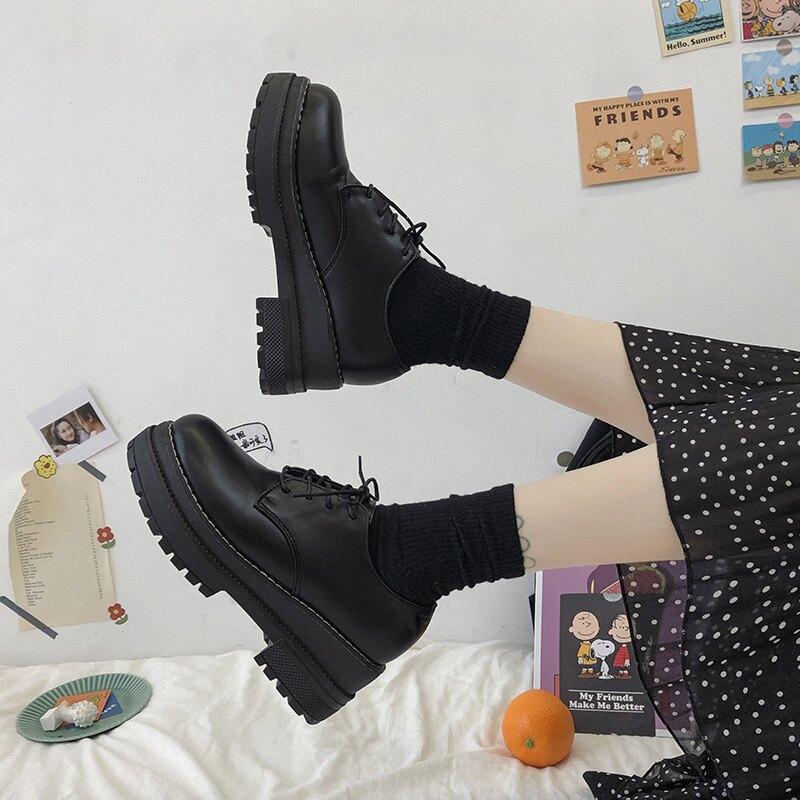 英倫風鬆糕厚底小皮鞋女韓版百搭復古黑色日系單鞋