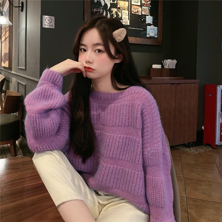 M-4XL大尺碼衣著 2020秋冬韓風寬鬆慵懶針織套頭chic毛衣女