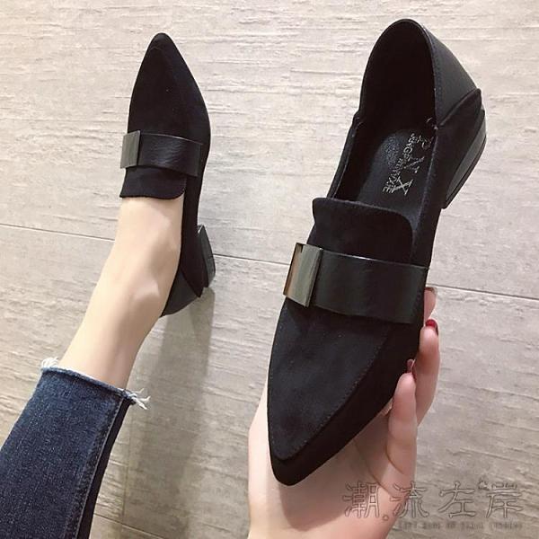 網紅單鞋女新款春秋ins平底兩穿工作鞋女復古英倫風小皮鞋潮