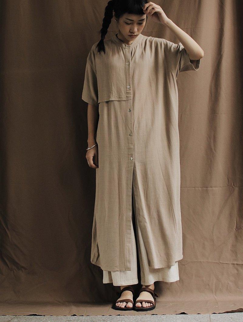 SIXTH SENSE 亞麻長版覆片排釦上衣洋裝_淺卡其