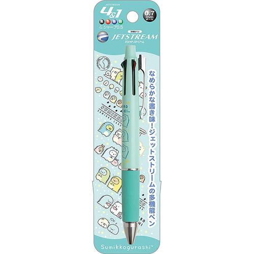 San-X 日本製JETSTREAM4色原子筆 0.7mm + 自動鉛筆 0.5mm 角落小夥伴 恐龍裝 薄荷綠