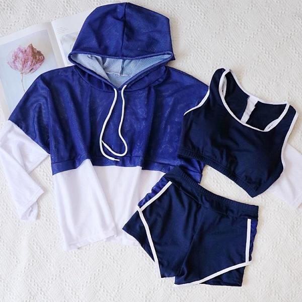 運動風泳衣女三件套分體保守