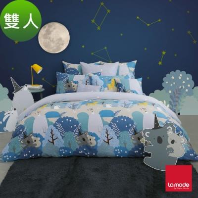 (活動)La Mode寢飾 奇幻魔法夜環保印染100%精梳棉兩用被床包組(雙人)