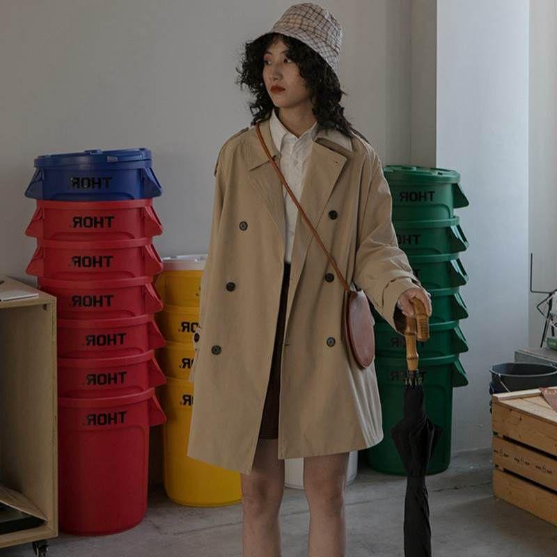 設計感風衣女中長款小個子學生英倫風外套2020