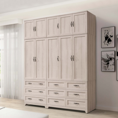 Boden-曼蒂6.7尺多功能收納加高型衣櫃組合(三門六抽+二門三抽+棉被櫃)-200x58x255cm