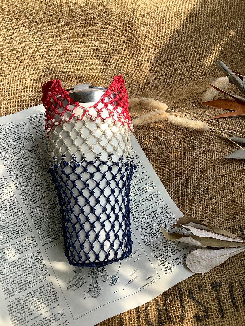 M型 美國麻線手工編織袋/三層色系/藍麻紅/手搖杯-環保袋-冰霸杯