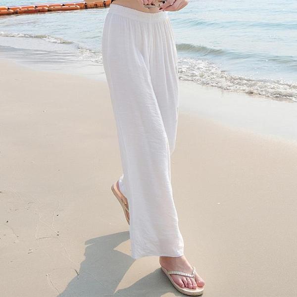 白色亞麻女褲夏季薄款寬鬆棉麻褲垂感闊腿褲高腰麻紗長褲子直筒褲 寶貝計畫