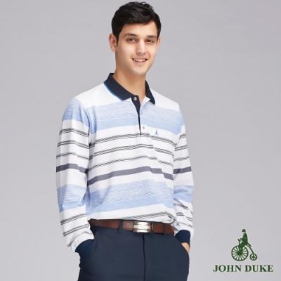 JOHN DUKEM約翰公爵海洋風都會休閒橫紋POLO衫_白/藍(99-9V6156)