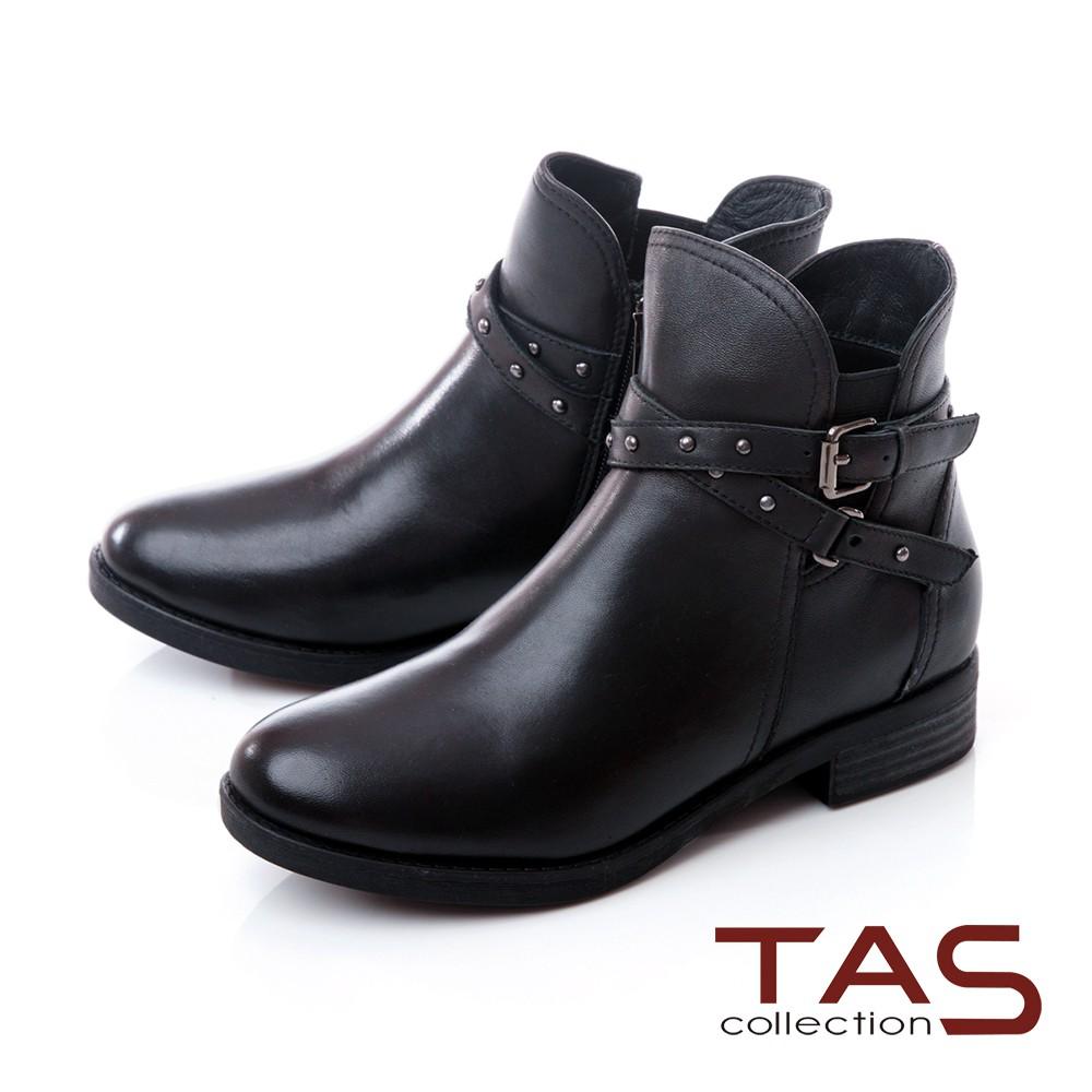 TAS 金屬扣帶羊皮短靴-質感黑