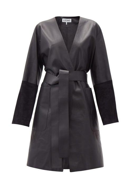Loewe - Suede-panelled Leather Wrap Coat - Womens - Black