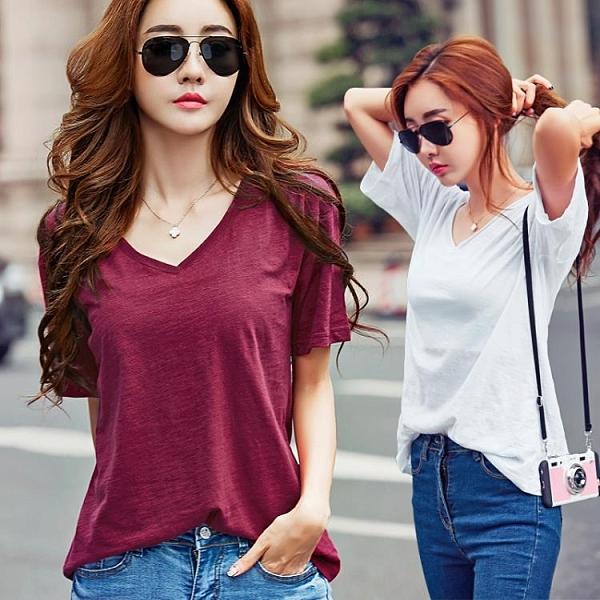 竹節棉短袖 韓版寬鬆V領半袖衫夏季新品體恤顯瘦打底簡約素色竹節棉短袖t恤女