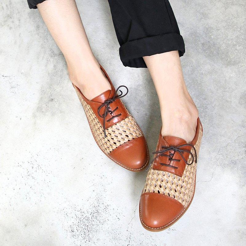 【手工訂製】外尖內圓真皮編織拼接紳士鞋_駝