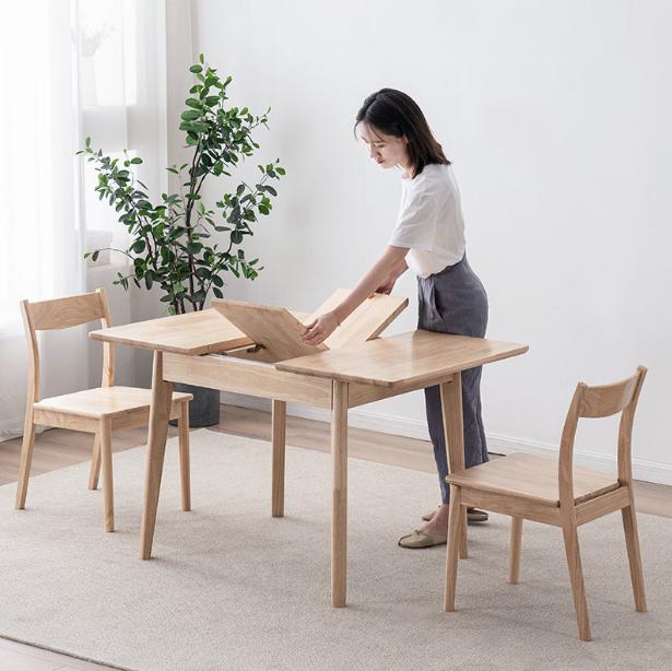 桌子 餐桌 實木桌 飯桌 自動70*90cm 伸縮餐桌 家用小戶型北歐實木折疊餐桌現代簡約小型長方形