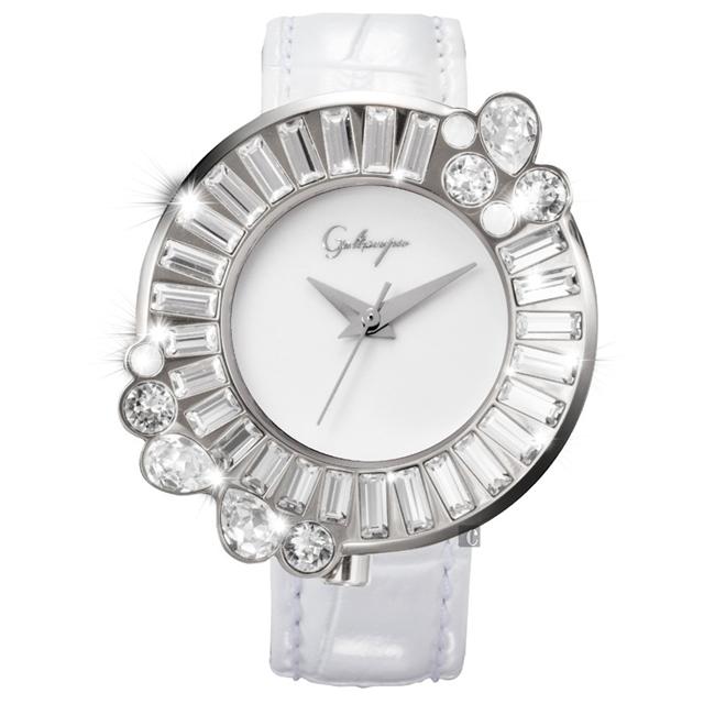 Galtiscopio迦堤 閃轉浪漫系列幾何手錶-白/36mm SRSS001WLS