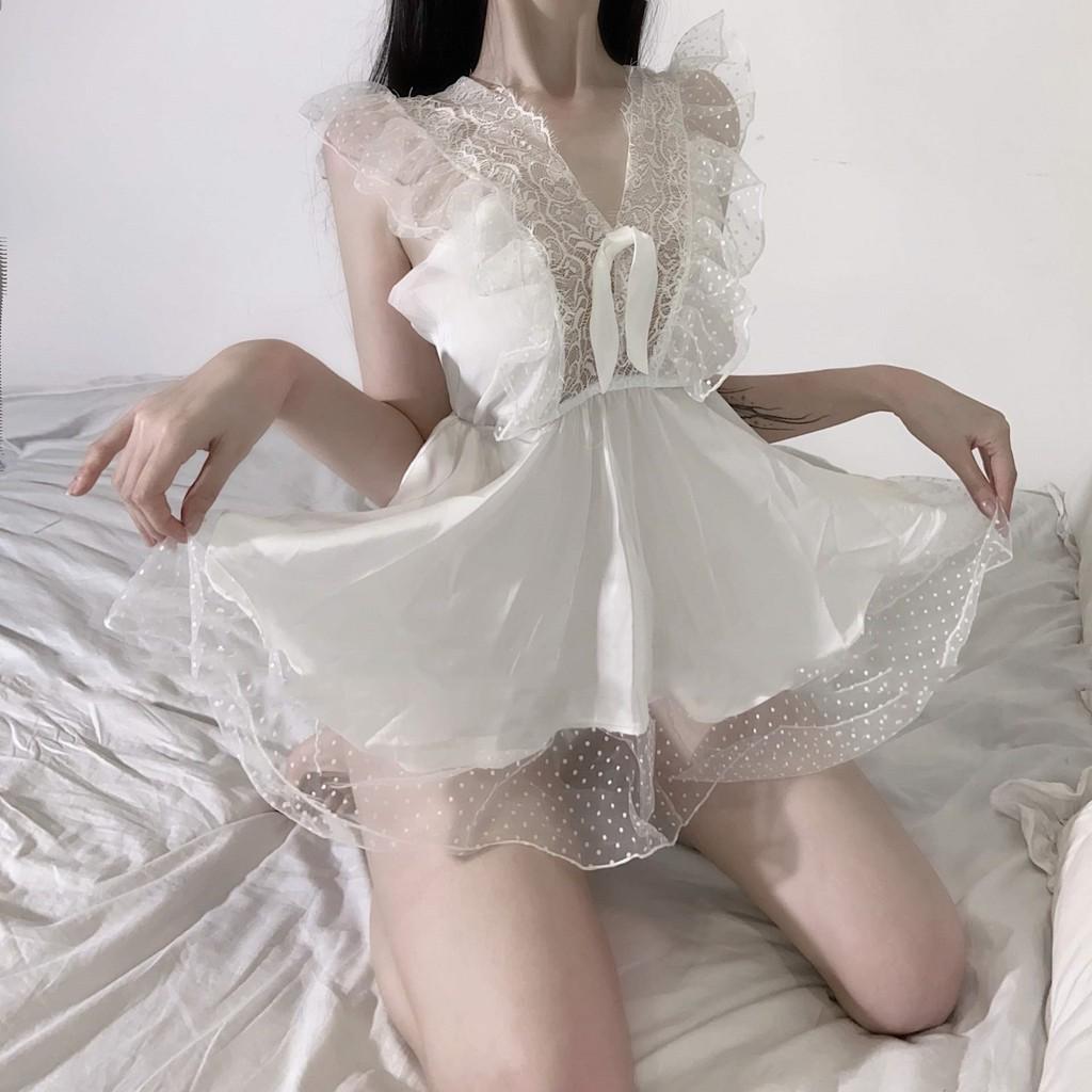 嘗嘗甜嗎 白色清純 可愛日系甜美睡裙 薄款 吊帶 性感睡衣19246