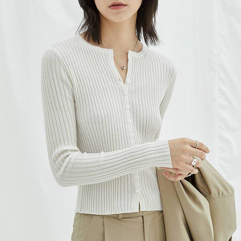 奶白色 坑條單排扣小開衫 短款修身顯瘦長袖百搭針織衫 澳洲羊毛