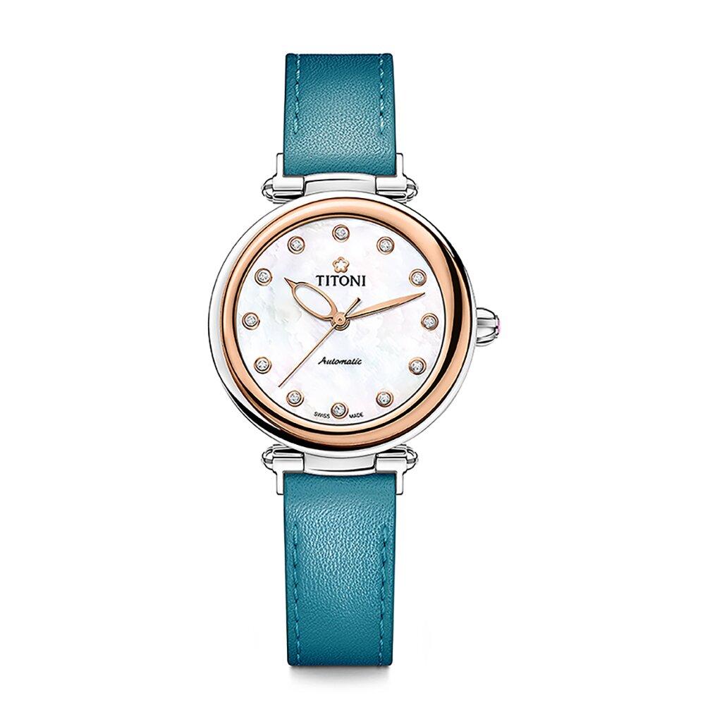 TITONI瑞士梅花錶 炫美時尚快拆系列 33.5mm玫瑰金珍珠母貝錶盤皮帶 23978 SRG-STS-622 (湛青藍)