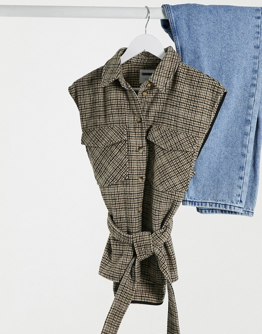 Noisy May sleeveless shirt with tie waist in brown check-Multi