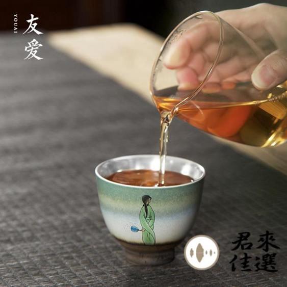 單個禮盒裝 999純銀杯霽藍鎏銀壓手杯茶杯陶瓷品茗杯功夫主人杯鑲銀